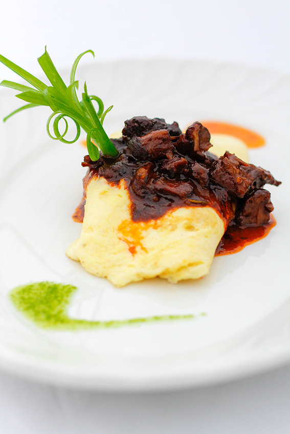 braised oxtail with goat cheese omelette 2