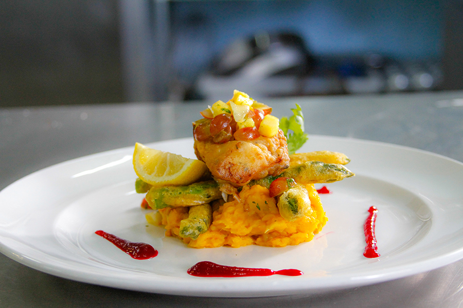 Pan Fried Red Snapper With Roasted Garlic Pumpkin And