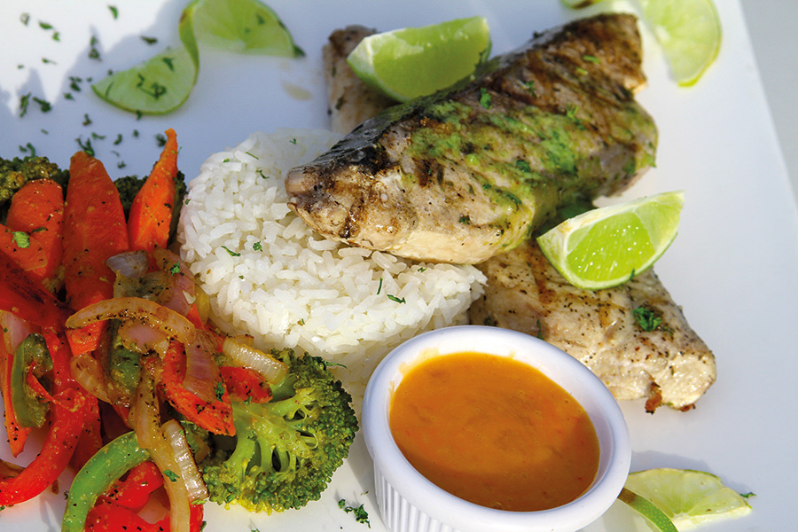 Grilled wahoo with mango pineapple sauce food and drink for Pineapple sauce for fish