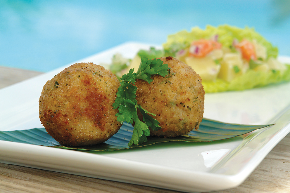 Green banana salt fish balls with breadfruit and vegetable for Saltwater fish food