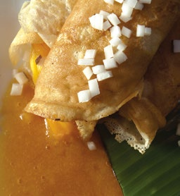 Mango and Jelly Coconut Crepe with Mango and English Harbour Rum Butter Sauce