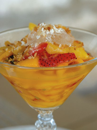 Mango Pineapple Strawberry Slaw with Lemon Sorbet